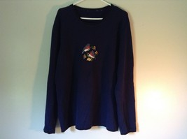 Knitted Navy Blue Long Sleeve Sweater Birds on Small Flowers on Front