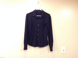 J.Crew Navy Blue almost Black Stretchy fabric Long Sleeve Shirt, no Size tag