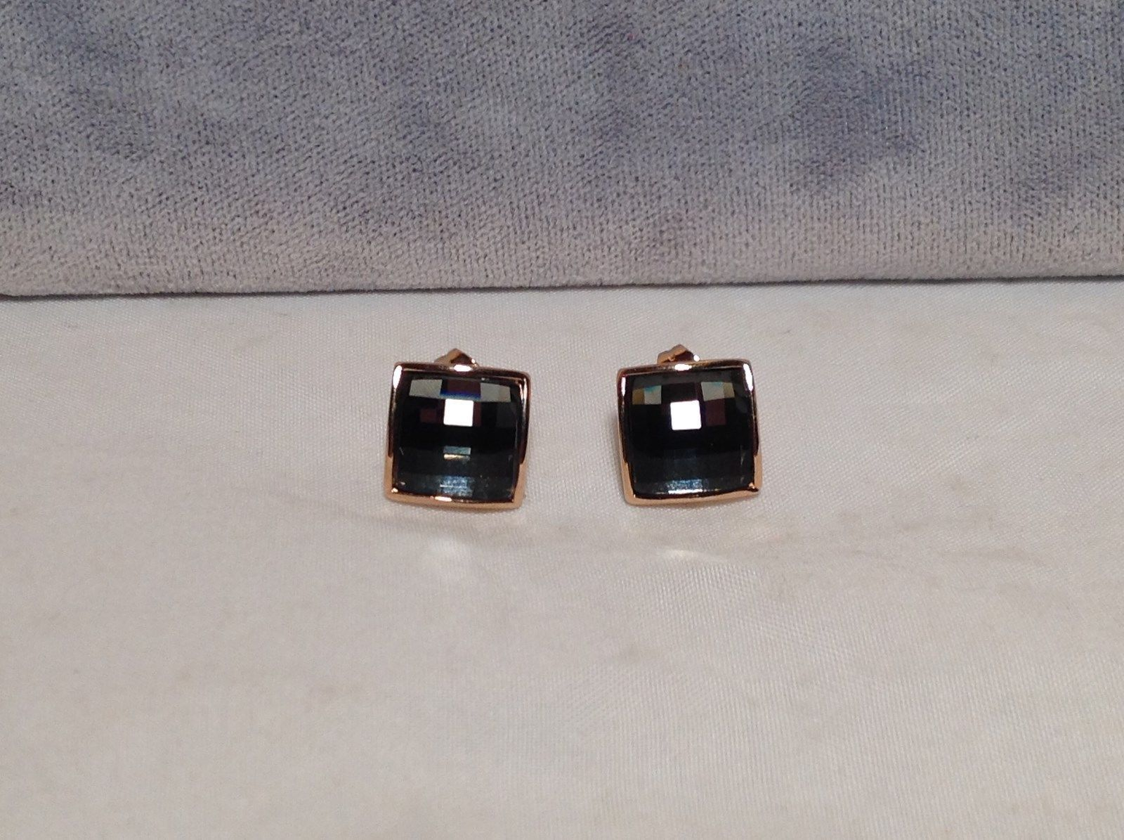 Square Gray CZ Stone Stud Earrings Disco Ball Like Sparkle 18K gold PLATED