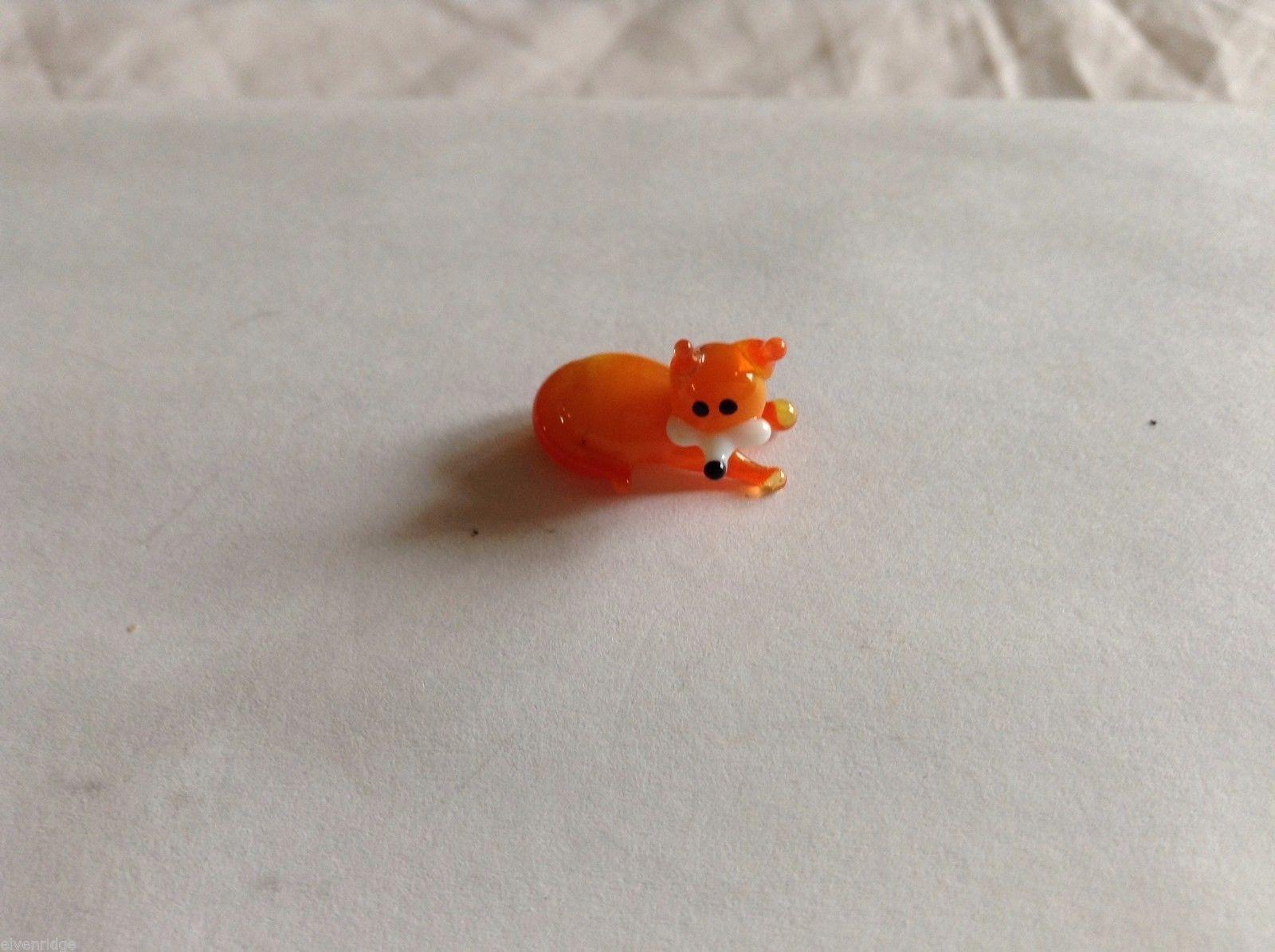 Micro Miniature small hand blown glass made USA orange fox lying down