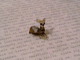 Micro miniature hand blown glass figurine lying down resting bambi deer  USA NIB