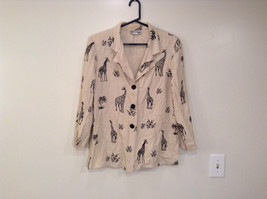 Michael Taylor Long Sleeve Button Up Shirt Beige with Giraffe Patterns Size L
