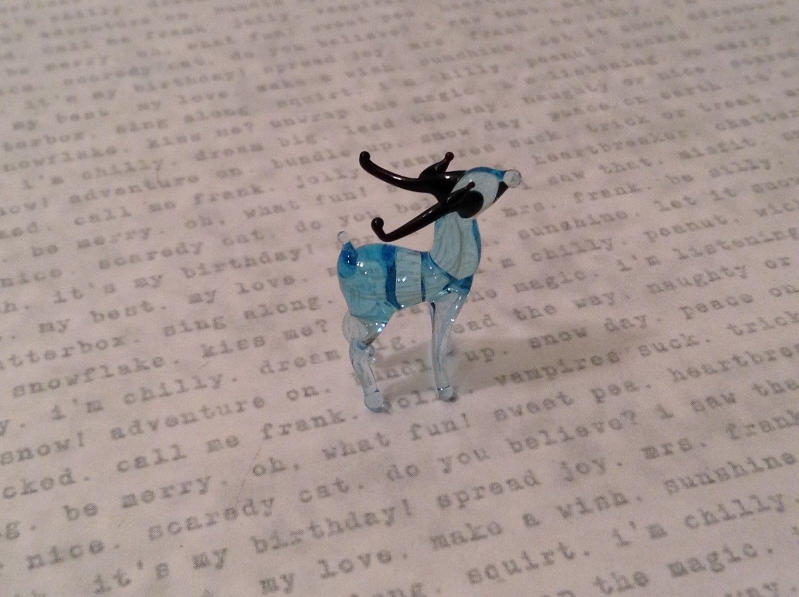Micro miniature hand blown glass figurine blue reindeer w black antlers USA NIB