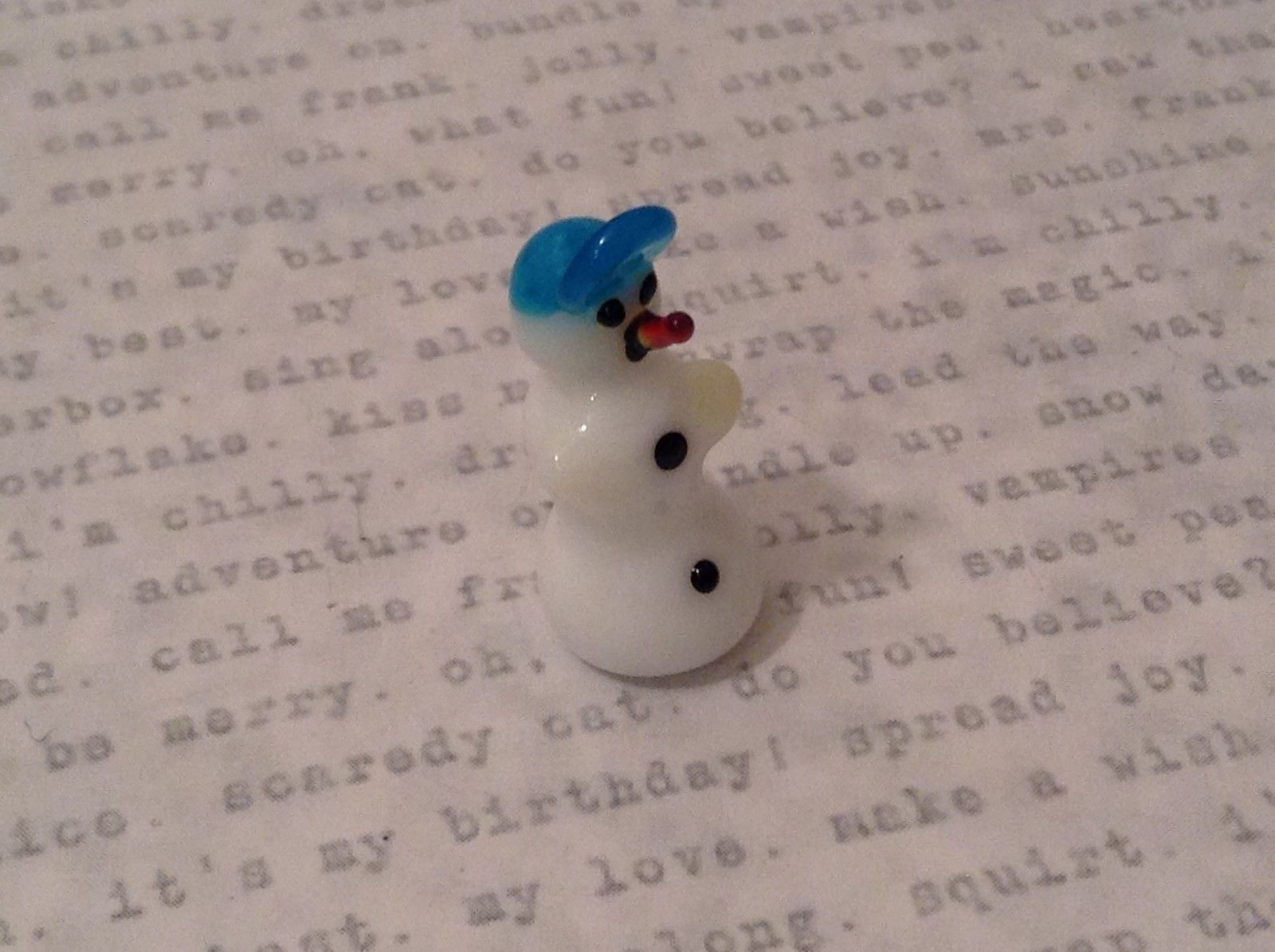 Micro miniature handblown glass figure snowman w blue baseball cap USA NIB