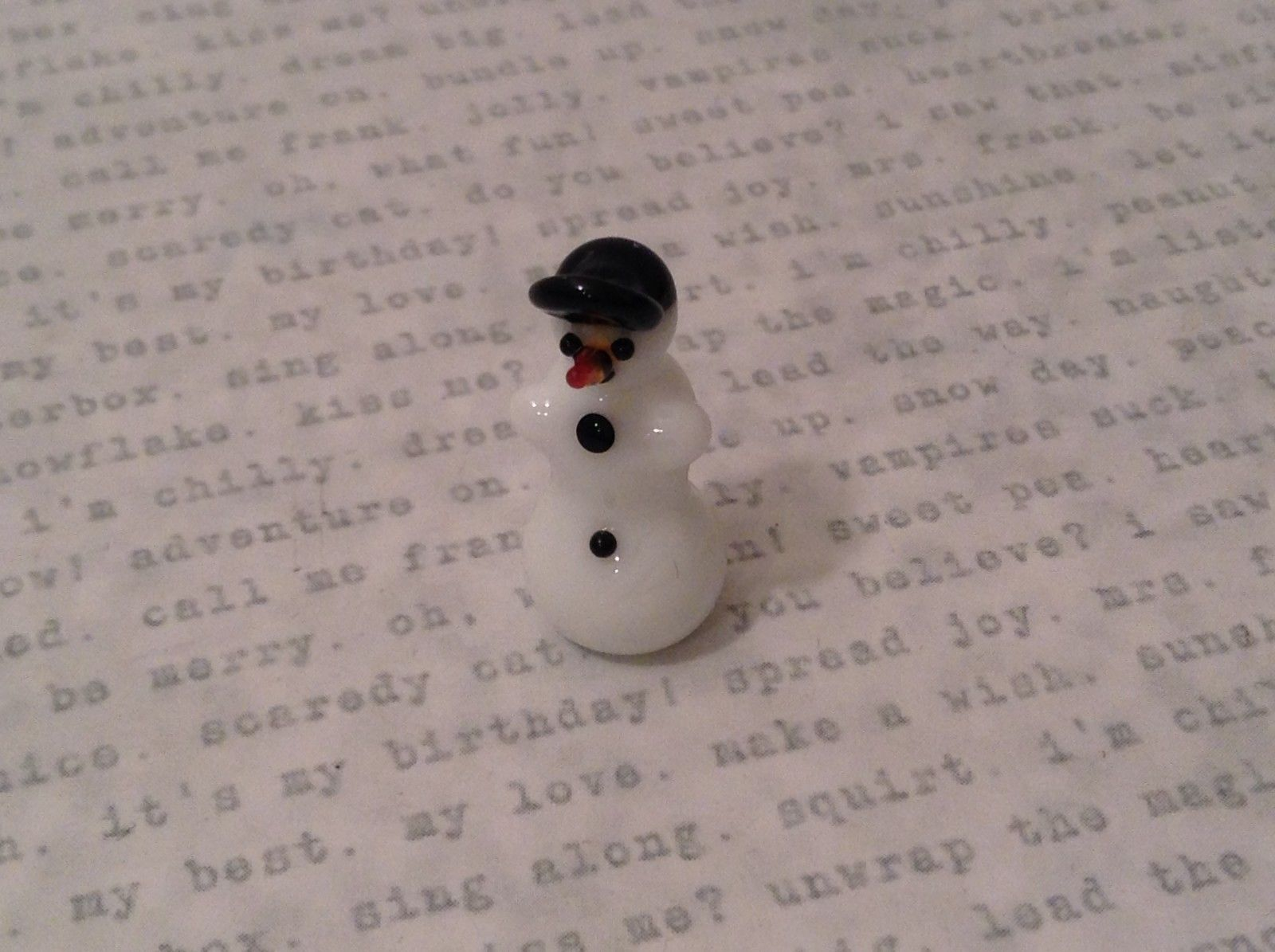 Micro miniature hand blown glass figurine snowman w black baseball cap USA NIB