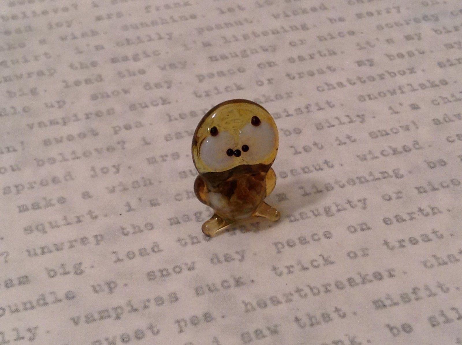 Micro miniature hand blown glass figurine cute brown owl  USA NIB