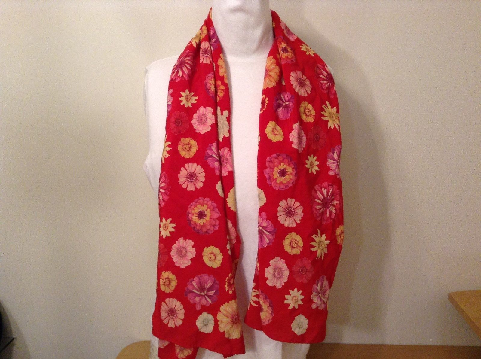 Pretty Silk Red Scarf with Pink and Yellow Flowers