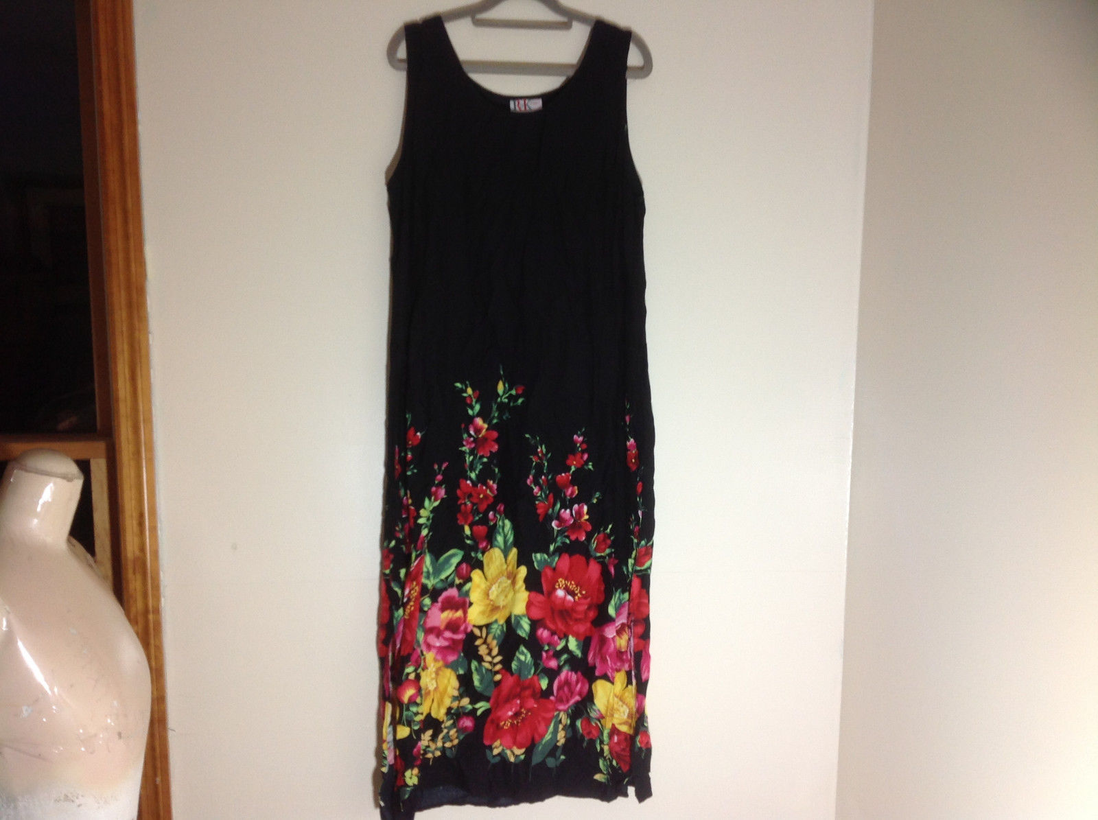 R & K Black Beach Cover Up Dress Floral Decoration at Bottom of Dress Size 16