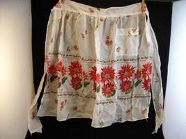 Vintage Christmas Poinsettia Apron