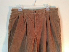 Brown Corduroy L L Bean Casual Pleated Pants Size 36 Front and Back Pockets image 2