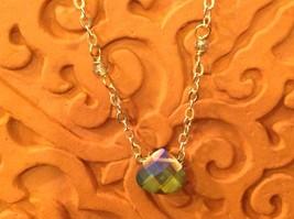 "Caribbean aqua blue Elly Preston Faceted Thai Crystal Pendant Necklace 22"" Long image 4"