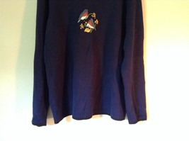 Knitted Navy Blue Long Sleeve Sweater Birds on Small Flowers on Front image 4