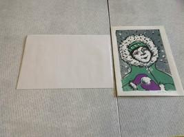 Kid with Snowball Original Wood Block Handmade Greeting Card with Envelope Green image 2