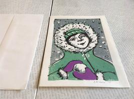 Kid with Snowball Original Wood Block Handmade Greeting Card with Envelope Green image 3