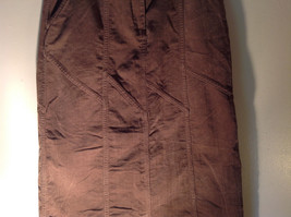 Brown Maxi Skirt by Christopher and Banks Stretch Front Zipper 2 Pockets Size 4 image 3