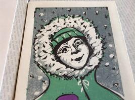 Kid with Snowball Original Wood Block Handmade Greeting Card with Envelope Green image 4