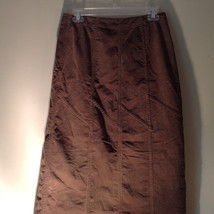 Brown Maxi Skirt by Christopher and Banks Stretch Front Zipper 2 Pockets Size 4 image 6