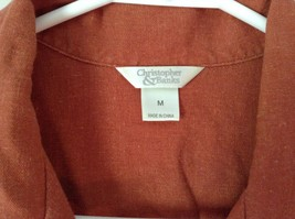 Burnt Orange Short Sleeve Collared Button Up Blouse Christopher and Banks Size M image 2