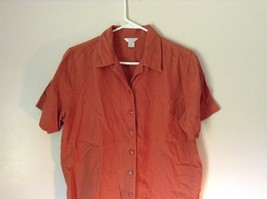 Burnt Orange Short Sleeve Collared Button Up Blouse Christopher and Banks Size M image 3
