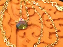 "Caribbean aqua blue Elly Preston Faceted Thai Crystal Pendant Necklace 22"" Long image 5"
