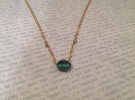 "Caribbean aqua blue Elly Preston Faceted Thai Crystal Pendant Necklace 22"" Long image 2"