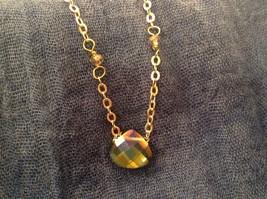 "Caribbean aqua blue Elly Preston Faceted Thai Crystal Pendant Necklace 22"" Long image 7"
