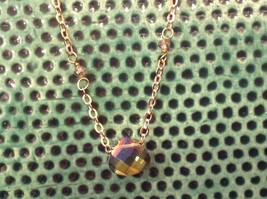 "Caribbean aqua blue Elly Preston Faceted Thai Crystal Pendant Necklace 22"" Long image 9"
