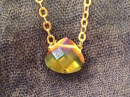 "Caribbean aqua blue Elly Preston Faceted Thai Crystal Pendant Necklace 22"" Long image 8"