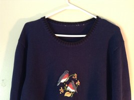Knitted Navy Blue Long Sleeve Sweater Birds on Small Flowers on Front image 3