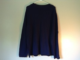 Knitted Navy Blue Long Sleeve Sweater Birds on Small Flowers on Front image 6