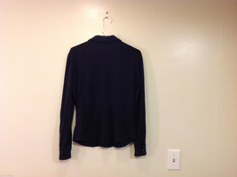 J.Crew Navy Blue almost Black Stretchy fabric Long Sleeve Shirt, no Size tag image 2