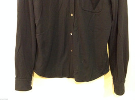 J.Crew Navy Blue almost Black Stretchy fabric Long Sleeve Shirt, no Size tag image 4