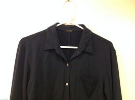J.Crew Navy Blue almost Black Stretchy fabric Long Sleeve Shirt, no Size tag image 3