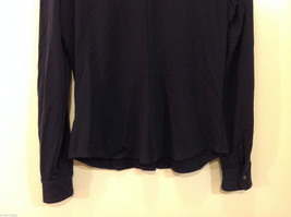 J.Crew Navy Blue almost Black Stretchy fabric Long Sleeve Shirt, no Size tag image 6