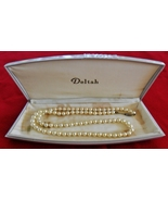 Deltah Simulated Pearl Necklace with Deltah Braun Crystal Plastic Case White - $9.95