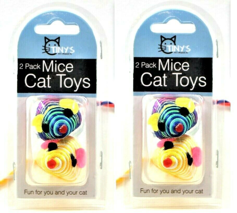Cat Toys Striped Mouse Small Mice Rattling Made Out Of String 2 Packs Of 2 New