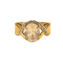 9k Yellow Gold Moonstone Ring with Diamonds UK Ring Size L BHS - $412.53