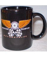 Harley-Davidson Mug Black Winged Wheel & Checkered Flags - $15.00
