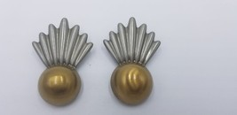 Vintage Art Deco Style Gold Tone Button Pierced Earrings With Decoration... - $19.32
