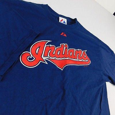 03eb827c58c3 Cleveland Indians Blue T Shirt Majestic Sz L and 50 similar items. 1