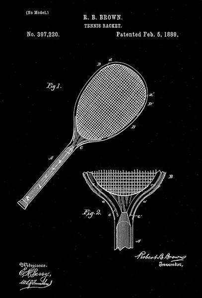 Primary image for 1889 - Tennis Racket - R. B. Brown - Patent Art Poster