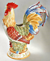 """Fitz & Floyd Rooster Handcrafted Figurine Pitcher """" Garden Melody """" Collection - $135.00"""