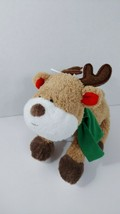 Carters baby plush tan white reindeer brown feet green scarf red ears so... - $35.63