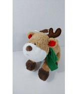 Carters baby plush tan white reindeer brown feet green scarf red ears soft toy - $35.63