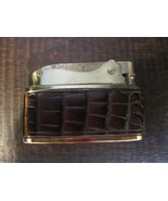 Vintage Bomart Leather Wrapped Brown croc style Standard Lighter with bo... - $19.99