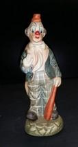 Vintage Bisque Porcelain Clown waving and holding a Bat - $6.99
