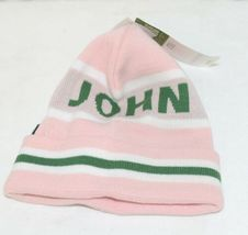 John Deere LP47339 Acrylic Pink Green And White Cuffed Beanie image 3