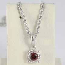 18K WHITE GOLD NECKLACE ROPE CHAIN & FLOWER PENDANT, RED ZIRCONIA ROUND CUT image 1