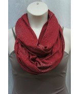 Steve Madden Infinity Loop Scarf One Size Red Silver Glitter Texture Cow... - $24.18