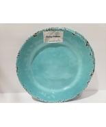 (2) Tommy Bahama Melamine Aqua Brown Crackled Dinner Plates NEW - $28.99